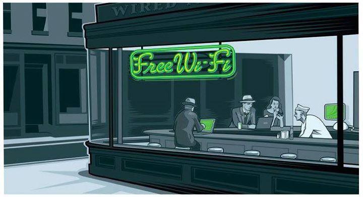 przeróbka obrazu hoppera - zielony znak free wi fi