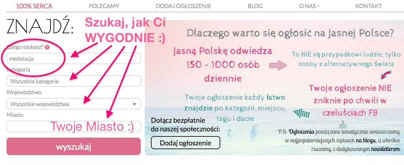 Jasna Polska alternatywny portal duchowy, blog, wyszukiwarka ogłoszeń, szukaj warsztaty, kursy, wydarzenia, rozwój osobisty, duchowość, ezo ogłoszenia, blog rozwojowy
