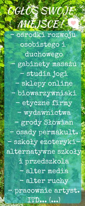 Jasna Polska, gabinet masażu, studio jogi, gród Słowian, gospodarstwo ekologiczne, skep ze zdrową żywnością, ezo ogłoszenia,