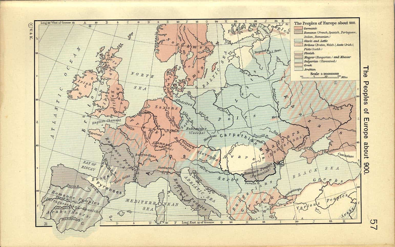 Mapa Europy 900 n.e. Poles, Polacy, Lechici, Słowianie