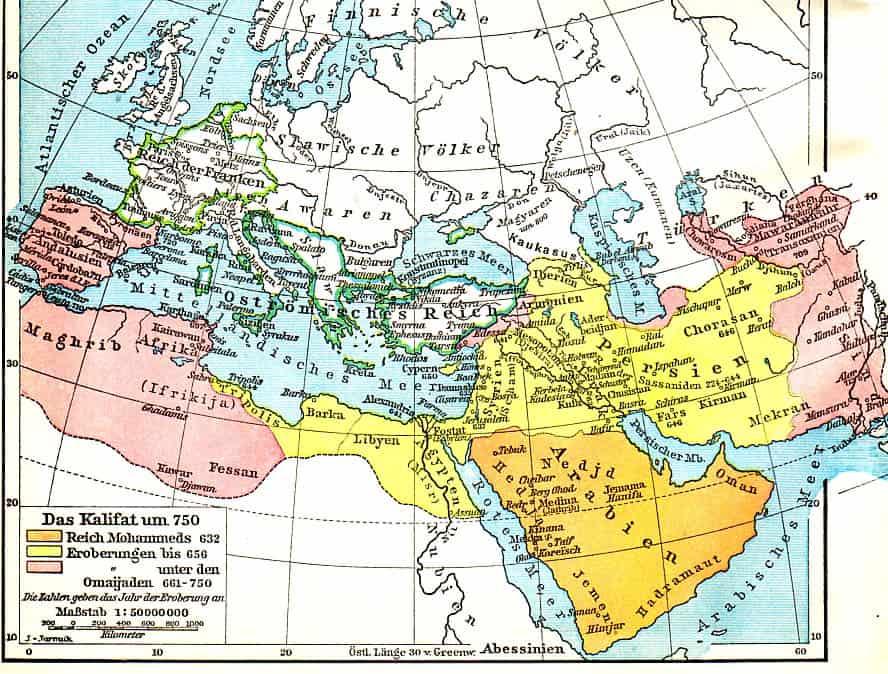 Mapa niemiecka Kalifat 750 n.e. Slavische Volker Slowianie w Europie